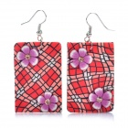 Stylish Rectangle Shaped Polymer Clay Earrings (Random Color / Pair)