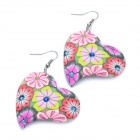 Stylish Heart Shaped Polymer Clay Earrings (Random Color / Pair)