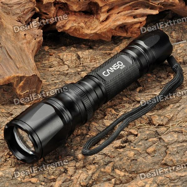 CANSO B06 3-Mode 800LM White LED Convex Lens Zoom Flashlight w/ Strap (2 x 123A / 1 x 18650) canso b06 3 mode 800lm white led convex lens zoom flashlight w strap 2 x 123a 1 x 18650
