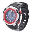 Sports Dual Time Display Diving Wrist Watch w/ Alarm Clock / Stopwatch - Black + Red (1 x CR2016)