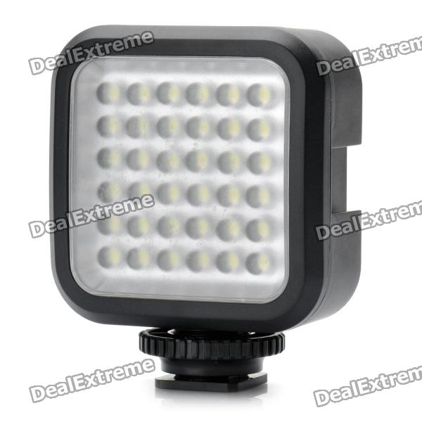 Rechargeable 4W 160LM 6500K White 36-LED Video Light with Battery Charger - Black