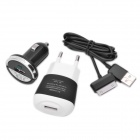 Mini 3-in-1 Car Charger + AC Charger + USB Data/Charging Cable Set for Samsung P1000 / P1010 - Black