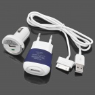 Mini 3-in-1 Car Charger + AC Charger + USB Data/Charging Cable Set for Samsung P1000 / P1010 - Blue