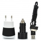 AC Adapter Charger + Car Charger + USB Data & Charging Cable for iPad / iPhone - Black