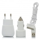 AC Adapter Charger + Car Charger + USB Data & Charging Cable for iPad / iPhone - White