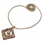 Stylish Colorful Rhinestone Pendant Necklace - Gold (70cm)