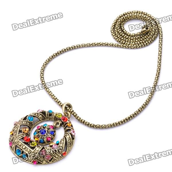 Fashion Circle Style Colorful Rhinestone Pendant Necklace - Golden (70cm) от DX.com INT