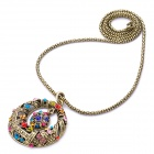 Fashion Circle Style Colorful Rhinestone Pendant Necklace - Golden (70cm)
