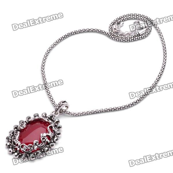 Elegant Red Jade Stone Pendant Necklace - Red + Silver (40cm-Length) от DX.com INT