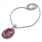 Elegant Red Jade Stone Pendant Necklace - Red + Silver (40cm-Length)