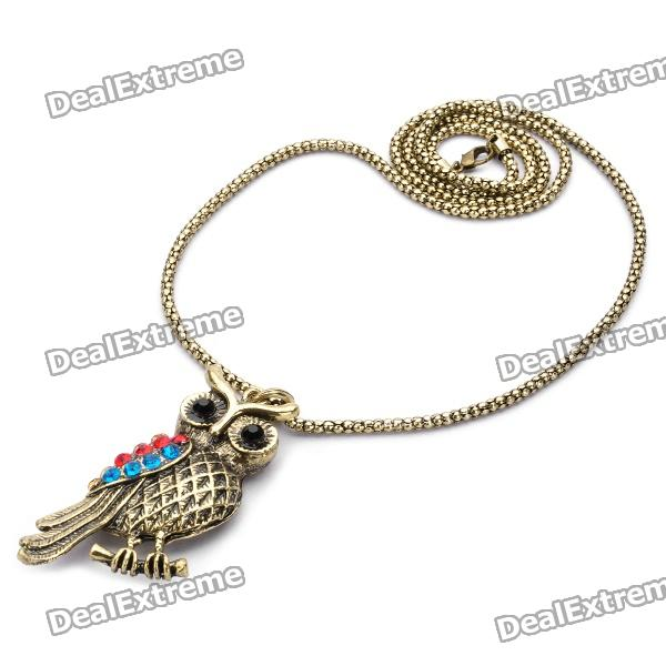 Creative Owl Style Colorful Rhinestone Necklace - Golden (70cm-Length) elegant plum flower style necklace 70cm length