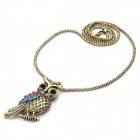 Creative Owl Style Colorful Rhinestone Necklace - Golden (70cm-Length)