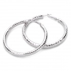 Fashion Zinc Alloy Earrings - Silver (6cm-Diameter / Pair)
