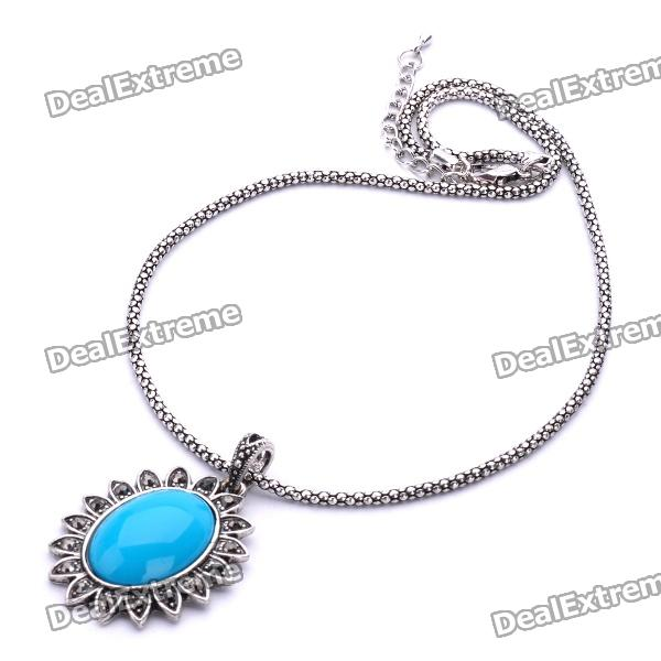 Elegant Blue Jade Stone The Sun Style Pendant Necklace - Blue + Silver Gray (40cm-Length) от DX.com INT