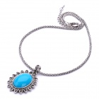 Elegant Blue Jade Stone The Sun Style Pendant Necklace - Blue + Silver Gray (40cm-Length)