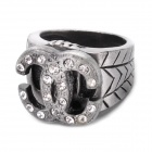Fashion Rotating Double C Style Rhinestone Finger Ring - Silver Gray