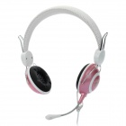 Gorsun Stereo Headphones w/ Microphone / Volume Control - White + Pink (3.5mm-Plug / 220cm-Cable)