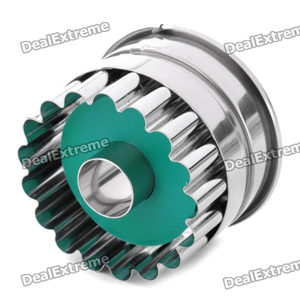 Stainless Steel + ABS Chrysanthemum Circle Shaped Spring Cookie Cutter - Green + Silver stainless steel abs chrysanthemum circle shaped spring cookie cutter green silver