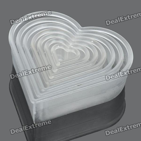 Heart Shaped Mousse Ring Cake Cookie Cutter Mold Set - White (7 Pieces Pack) moon shaped fruit mousse ring cake cookie cutter mold set 7 pcs