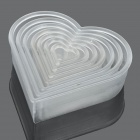 Heart Shaped Mousse Ring Cake Cookie Cutter Mold Set - White (7 Pieces Pack)