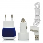 AC Adapter Charger + Car Charger + USB Data & Charging Cable for iPad / iPhone - White + Deep Blue