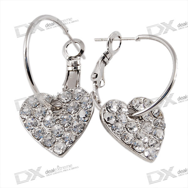 925 Silver Plated Heart Shaped Lady's Crystal Earrings