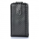Protective Weave Pattern Leather Case Pouch for iPhone 4 / 4S - Black