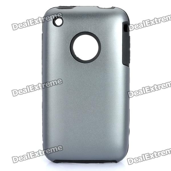 Protective Stylish Back Case for Iphone 3gs - Iron Grey stylish bubble pattern protective silicone abs back case front frame case for iphone 4 4s