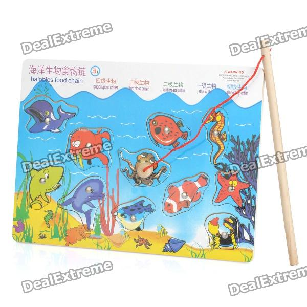 Wooden Magnetic Fishing Game Toy funny fishing game family child interactive fun desktop toy