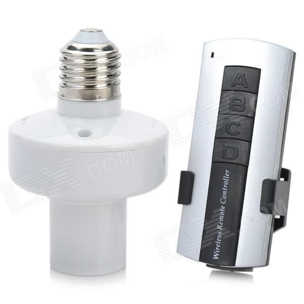 E27 Wireless Remote Control Switch Light Bulb Socket - White (AC 110~220V) 4pcs e27 wireless remote control light lamp bulb holder cap socket switch us ship incandescent less than 1000w brand new