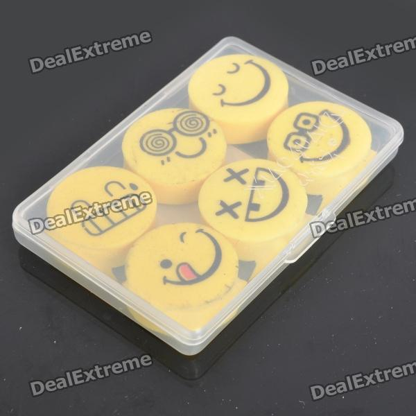 Smile Face Style Erasers (6-Piece Pack) cute smile face expression round erasers yellow 4 piece random style