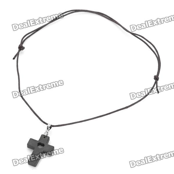 Cross Style Lava Rock Quantum Energy Pendant Necklace - Black (60cm-Chain) от DX.com INT