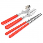 3-in-1 Stainless Steel Spoon + Fork + Chopsticks Set