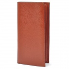 Stylish Cowhide Leather Long Style 2-Fold Wallet Purse - Brown