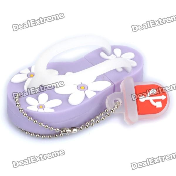 Cute Slippers Style USB Flash Drive with Chain - Purple (2GB) от DX.com INT