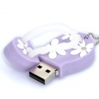 Cute Slippers Style USB Flash Drive with Chain - Purple (2GB)