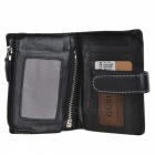 Stylish Medium Style Cowhide Leather 3-Fold Wallet Purse - Black