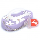 Cute Slippers Style USB Flash Drive with Chain - Purple (4GB)