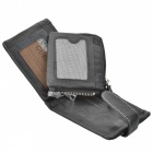 Stylish Cowhide Leather Horizontal Style 2-Fold Wallet Purse - Black