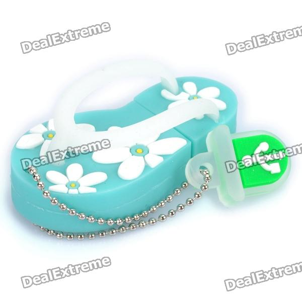 Cute Slippers Style USB Flash Drive with Chain - Blue (16GB)