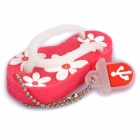 Cute Slippers Style USB Flash Drive with Chain - Deep Pink (2GB)