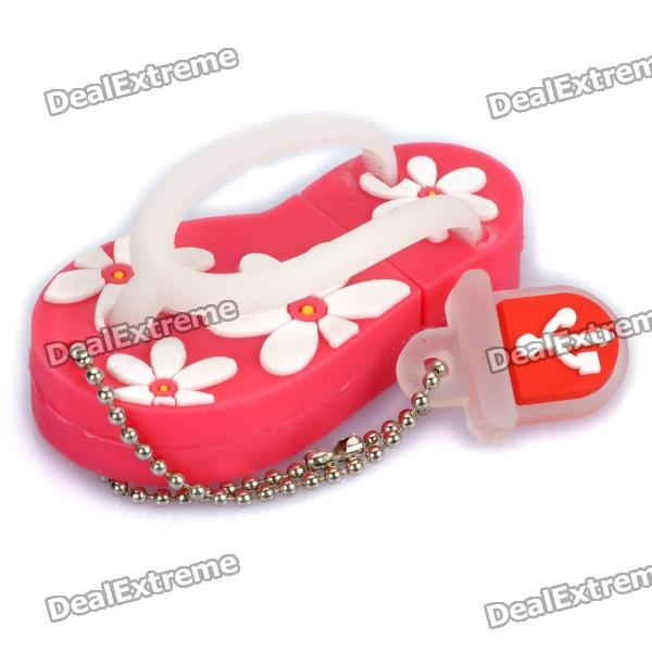 Cute Slippers Style USB Flash Drive with Chain - Deep Pink (16GB) от DX.com INT