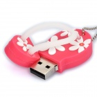 Cute Slippers Style USB Flash Drive with Chain - Deep Pink (16GB)