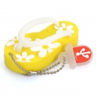 Cute Slippers Style USB Flash Drive with Chain - Yellow (4GB)