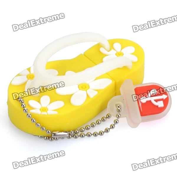 Cute Slippers Style USB Flash Drive with Chain - Yellow (16GB) от DX.com INT