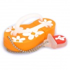 Cute Slippers Style USB Flash Drive with Chain - Orange (2GB)