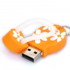 Cute Slippers Style USB Flash Drive with Chain - Orange (4GB)