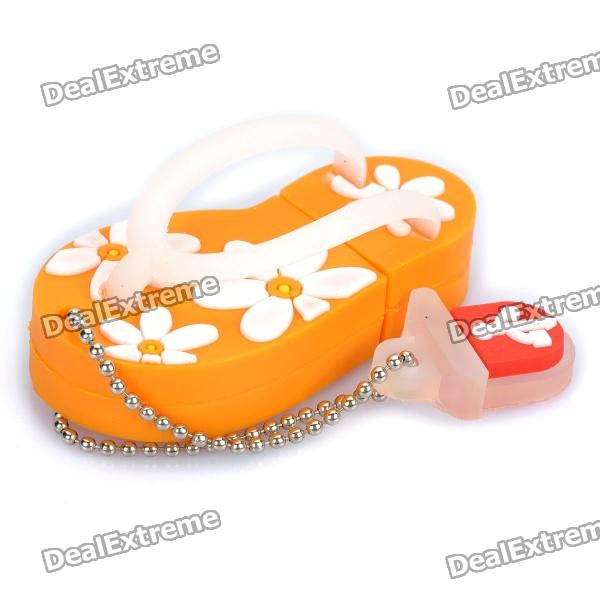 Cute Slippers Style USB Flash Drive with Chain - Orange (16GB) от DX.com INT