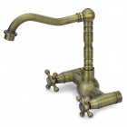 Antique Brass Double-Handle Bathroom Faucet