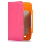 Protective Litchi Texture PU Leather Case for Samsung Galaxy Note i9220 N7000 - Deep Pink